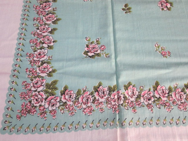 Pink Roses on Aqua NWT Napkins Floral Vintage Printed Tablecloth (51 X 49)