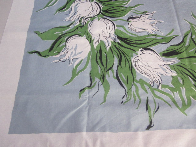 White Green Tulips on Blue Floral Vintage Printed Tablecloth (50 X 49)