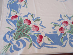 Rare Minnesota State Souvenir Lady Slippers Linen Hardy Craft Vintage Printed Tablecloth (43 X 43)