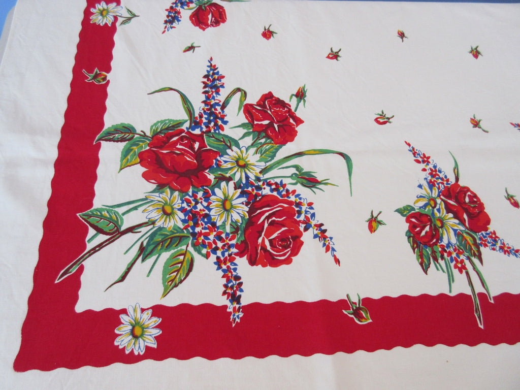 Vicray Red Roses Primary Floral NWOT Floral Vintage Printed Tablecloth (65 X 50)