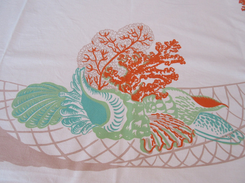 HTF Shells Ocean Coral Rosemary Novelty Vintage Printed Tablecloth (50 X 49)
