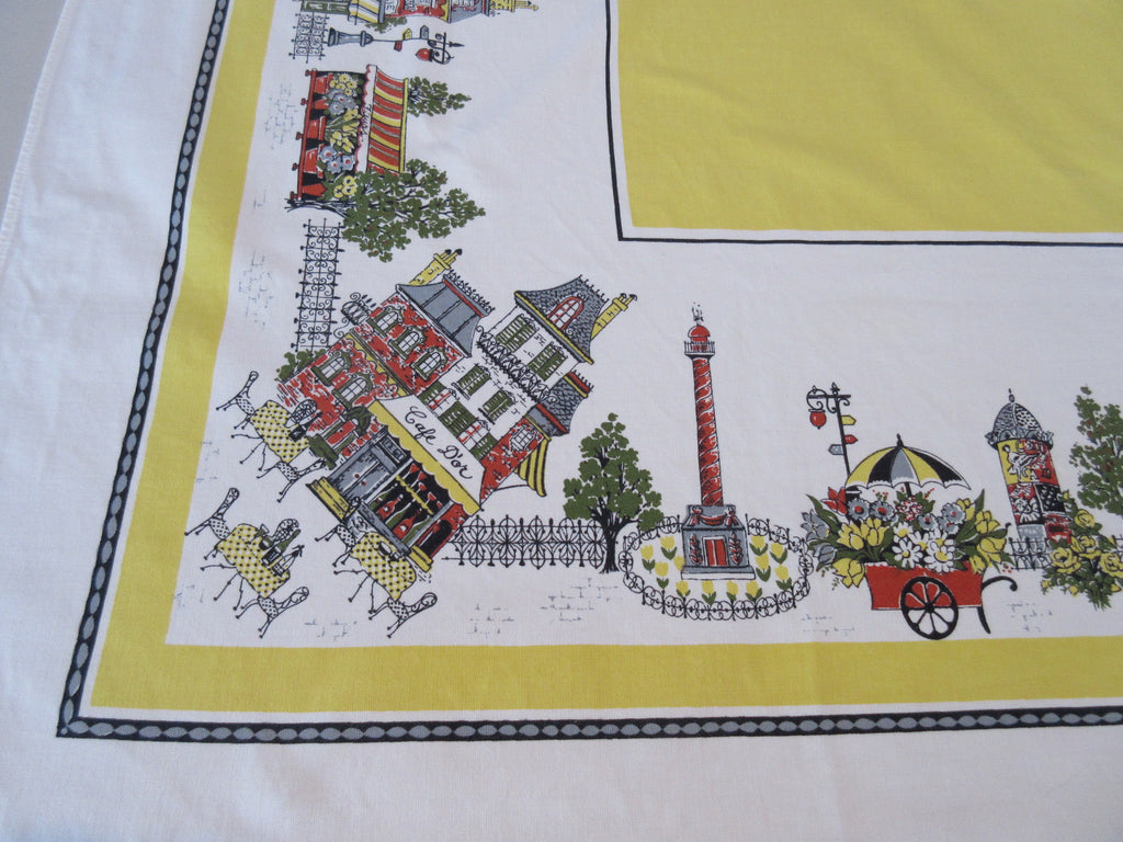 Golden Paris Cafe Shops Novelty Vintage Printed Tablecloth (63 X 49)