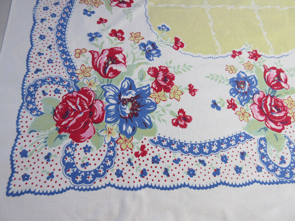 Primary Roses Tulips Polkadots Yellow Country REC Floral Vintage Printed Tablecloth (63 X 49)