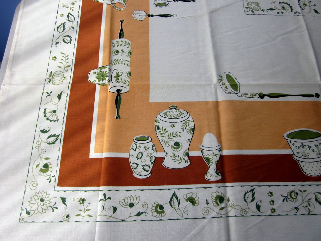 Pottery on Peach MWT Novelty Vintage Printed Tablecloth (68 X 51)