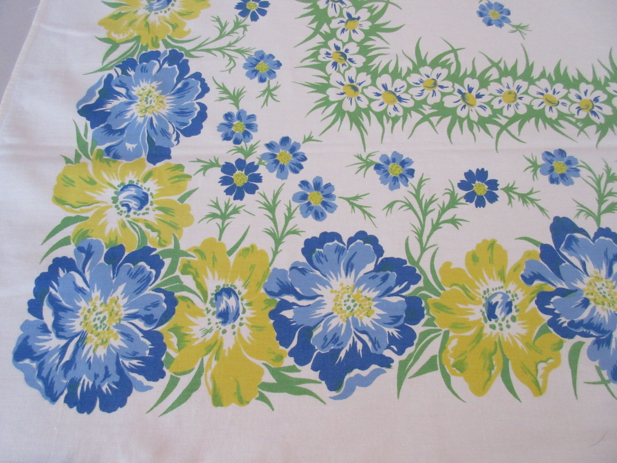 Blue Yellow Cosmos Springy Floral Vintage Printed Tablecloth (62 X 51)