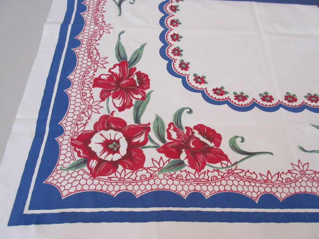 Fabulous Smaller Red Daffodils on Blue Polkadots Floral Vintage Printed Tablecloth (41 X 39)