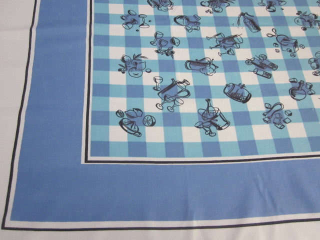 Blue Cocktails Plaid Novelty Vintage Printed Tablecloth (52 X 46)