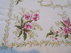 Pink Pansies Yellow Baby's Breath Floral Vintage Printed Tablecloth (57 X 52)
