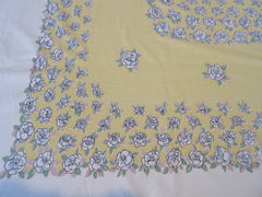 Pastel Blue Begonias on Banana Yellow Floral Vintage Printed Tablecloth (65 X 54)