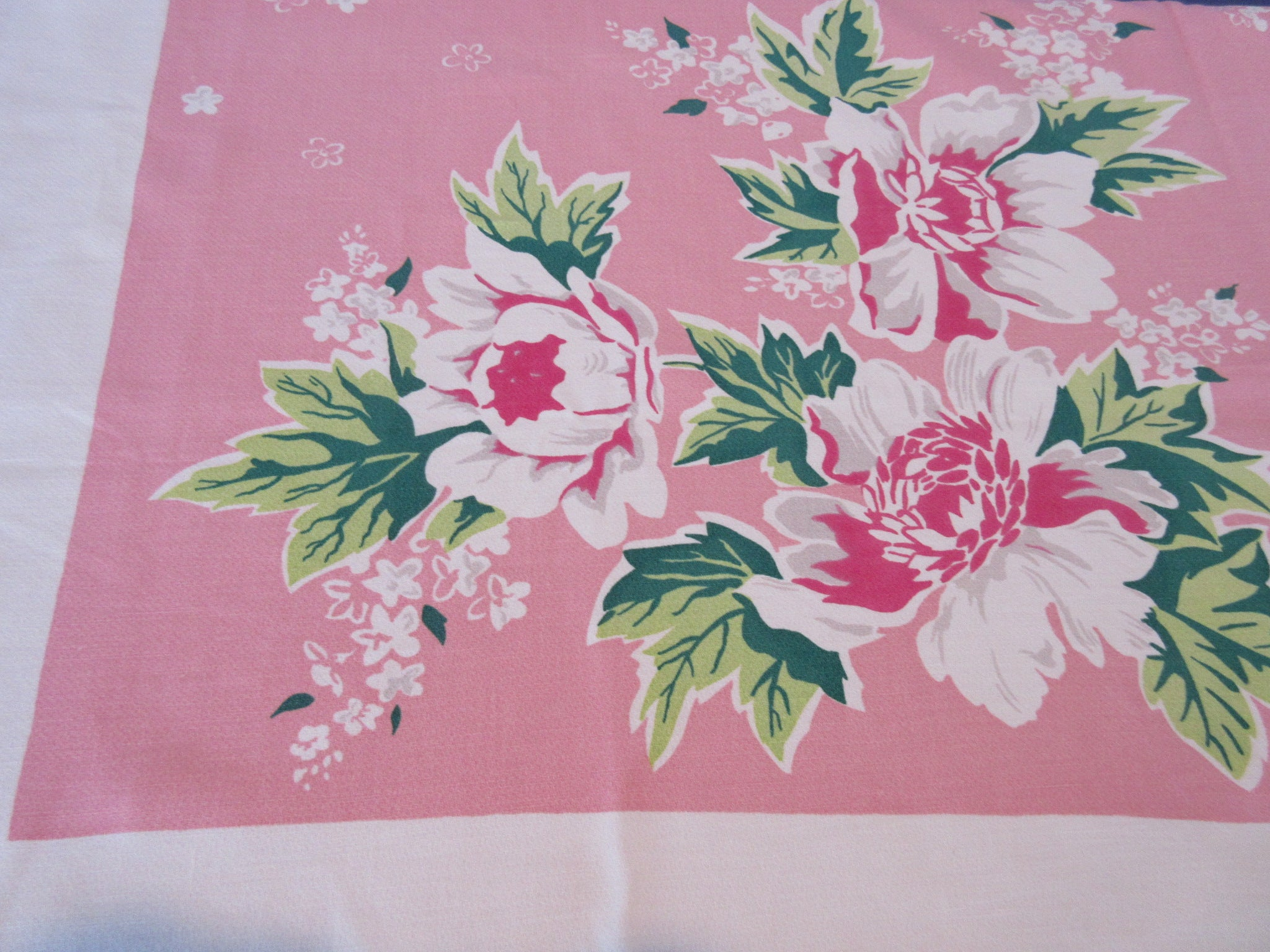 Sweet Peonies on Pink Simtex Floral Vintage Printed Tablecloth (54 X 48)