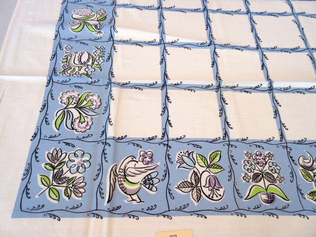 Pastel Flowers Doves Deer on French Blue MWT Novelty Vintage Printed Tablecloth (54 X 51)