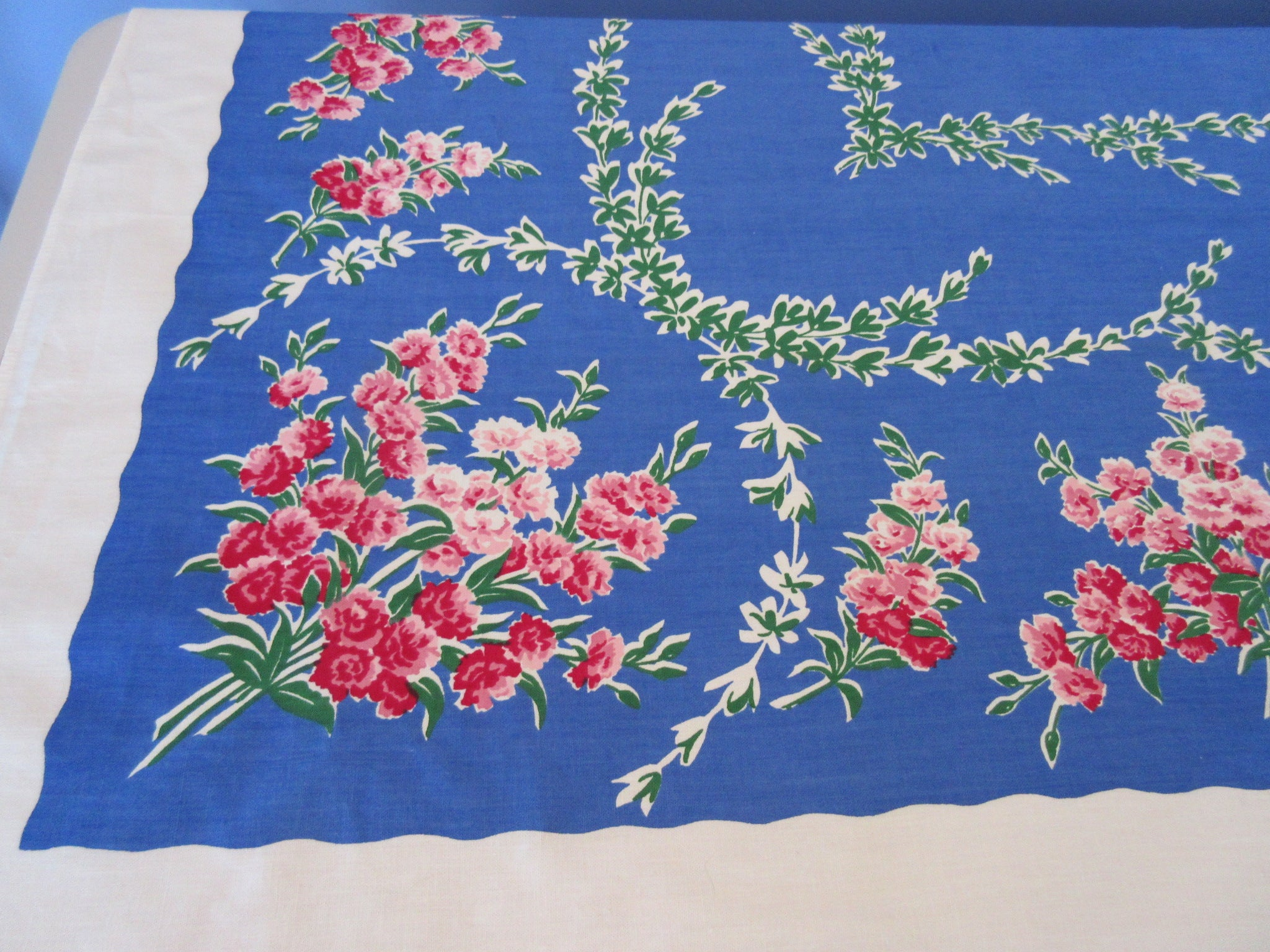 Gorgeous Pink Green Flowers on Blue Floral Vintage Printed Tablecloth (66 X 50)