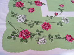 Bright Pink Roses on Spring Green Floral Vintage Printed Tablecloth (52 X 47)