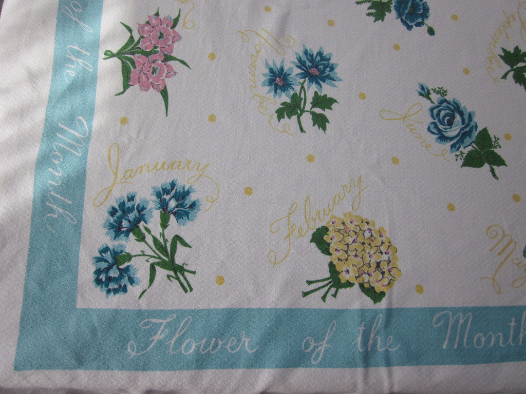 HTF Flower of the Month Floral Novelty Vintage Printed Tablecloth (64 X 54)