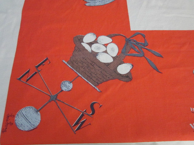 HTF Lois Long Weathervanes Novelty Vintage Printed Tablecloth (55 X 49)