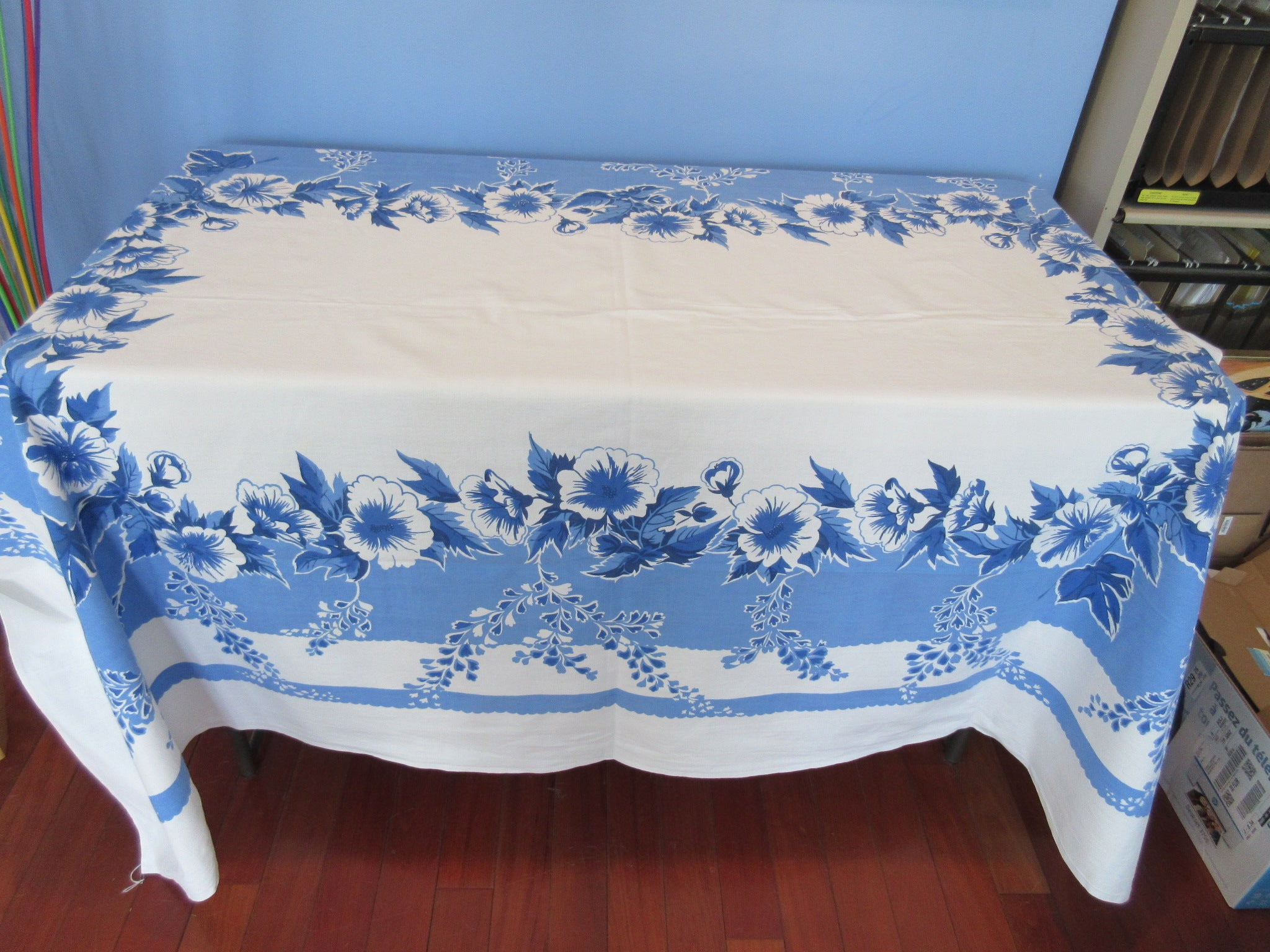 Large Single Color Blue Hibiscus Floral Vintage Printed Tablecloth (80 X 58)