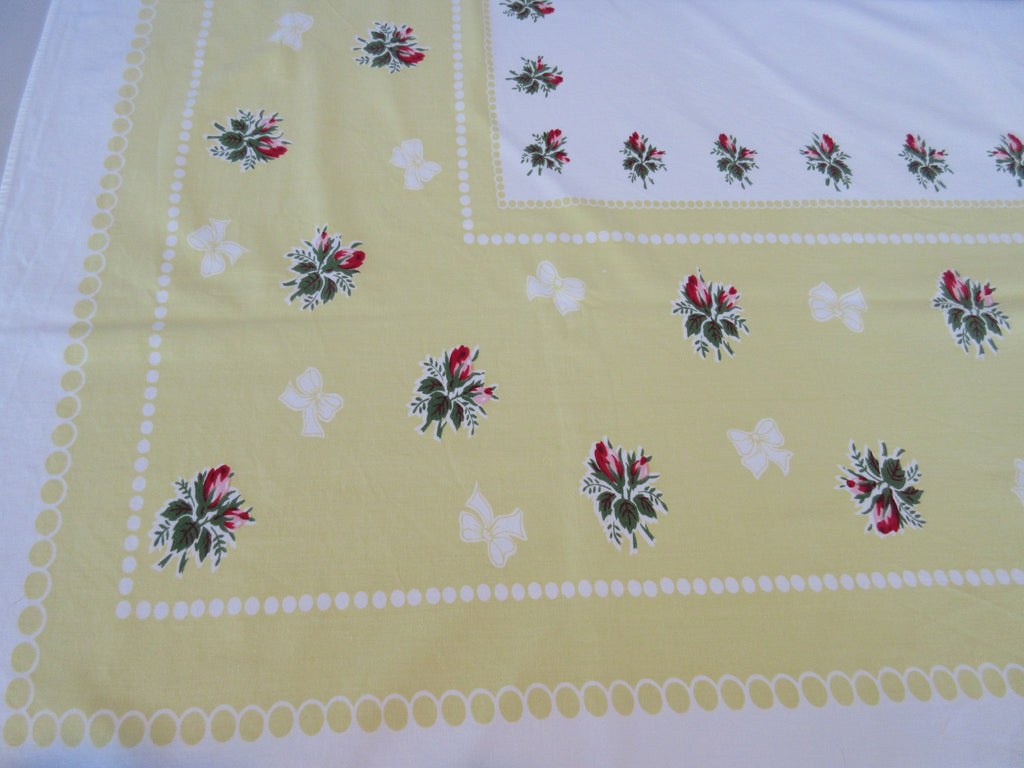 Pink Roses Polkadots on Lemon Yellow Floral Vintage Printed Tablecloth (58 X 51)
