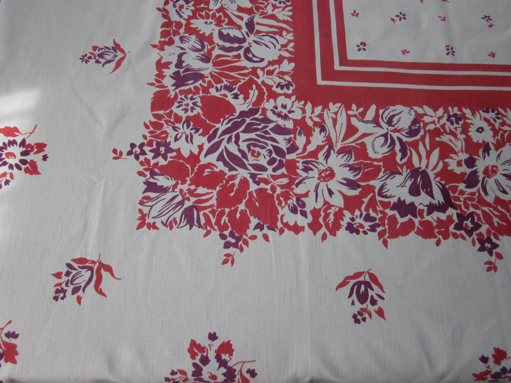 Early Red Magenta Floral Vintage Printed Tablecloth (51 X 46)