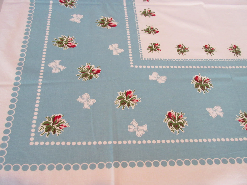 Pink Roses Polkadots Robins Egg Blue Floral Vintage Printed Tablecloth (52 X 44)