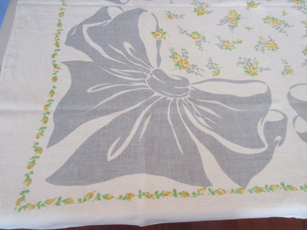 Yellow Roses Gray Bows Linen Hardy Craft Floral Vintage Printed Tablecloth (52 X 50)
