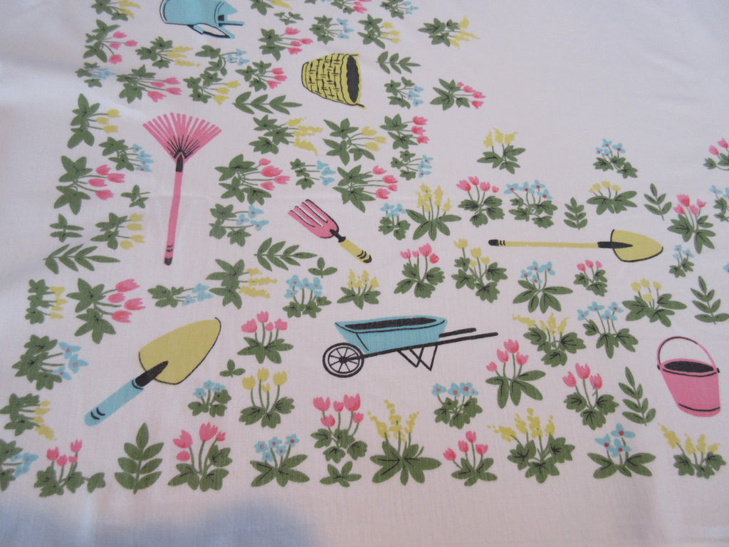 Pastel Gardening Tools Simtex Novelty Vintage Printed Tablecloth (52 X 41)