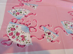 HTF PINK Dancing People Fans Topper Novelty Vintage Printed Tablecloth (35 X 30)