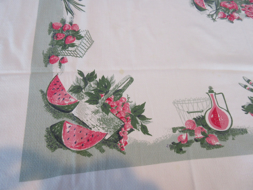 Watermelon Picnic on Green Cutter? Novelty Vintage Printed Tablecloth (51 X 46)