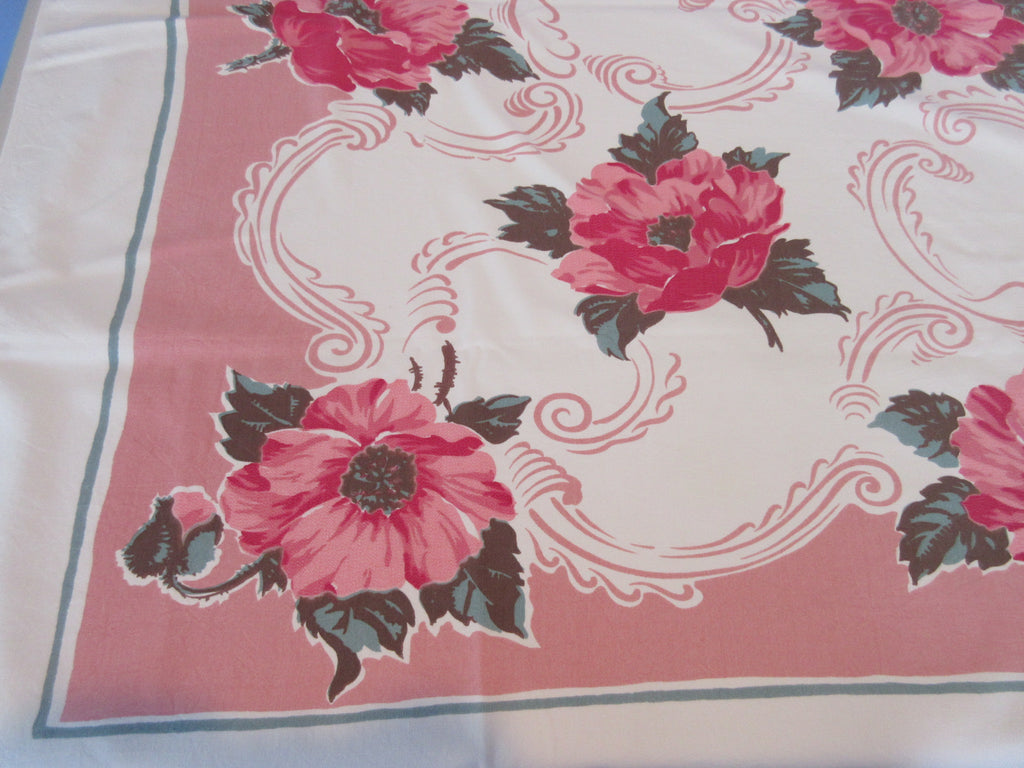 Pink Poppies on Pink Taupe Cutter? Vintage Printed Tablecloth (51 X 43)