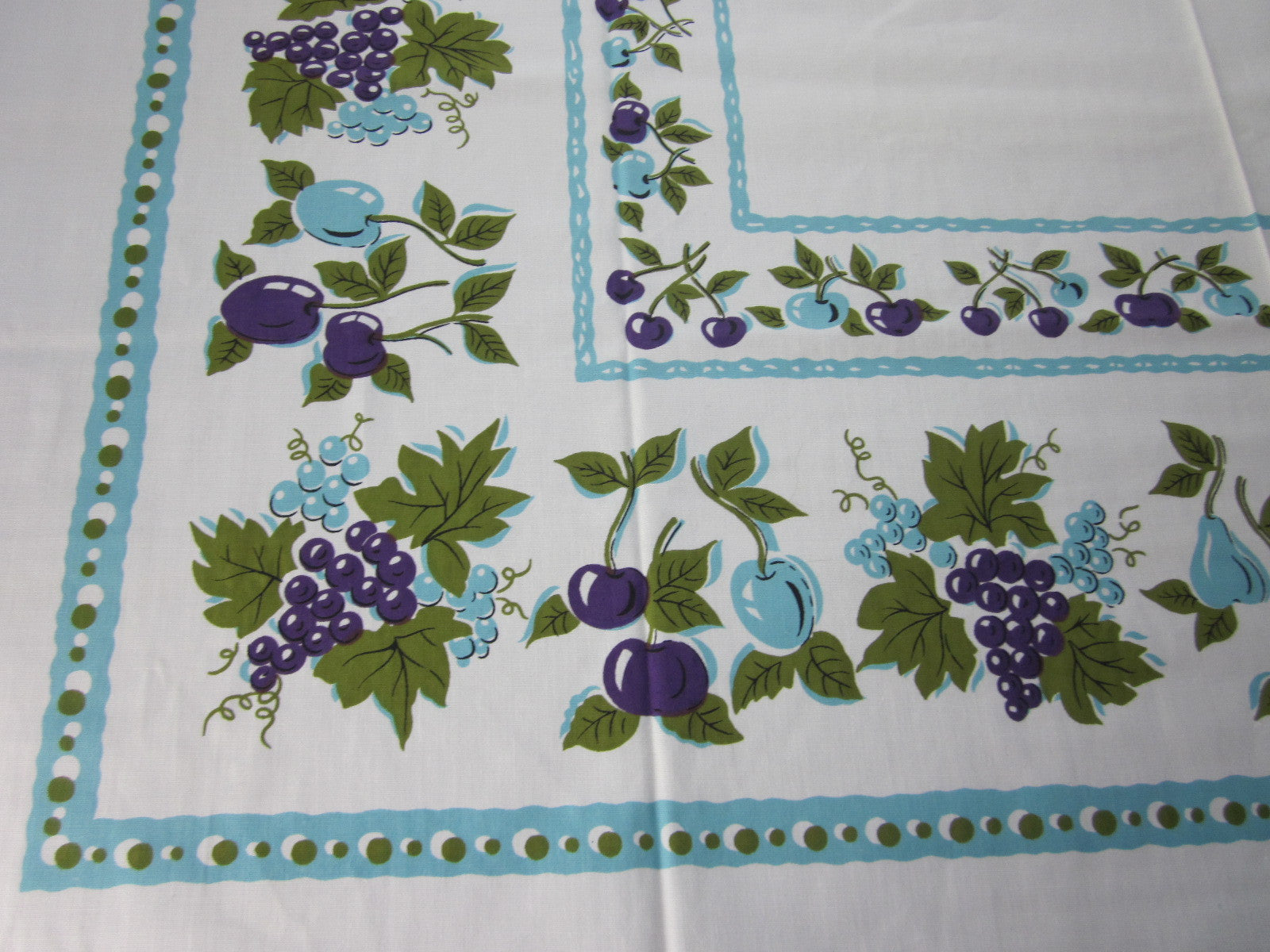 Purple Aqua Green Fruit MWT Vintage Printed Tablecloth (51 X 50)