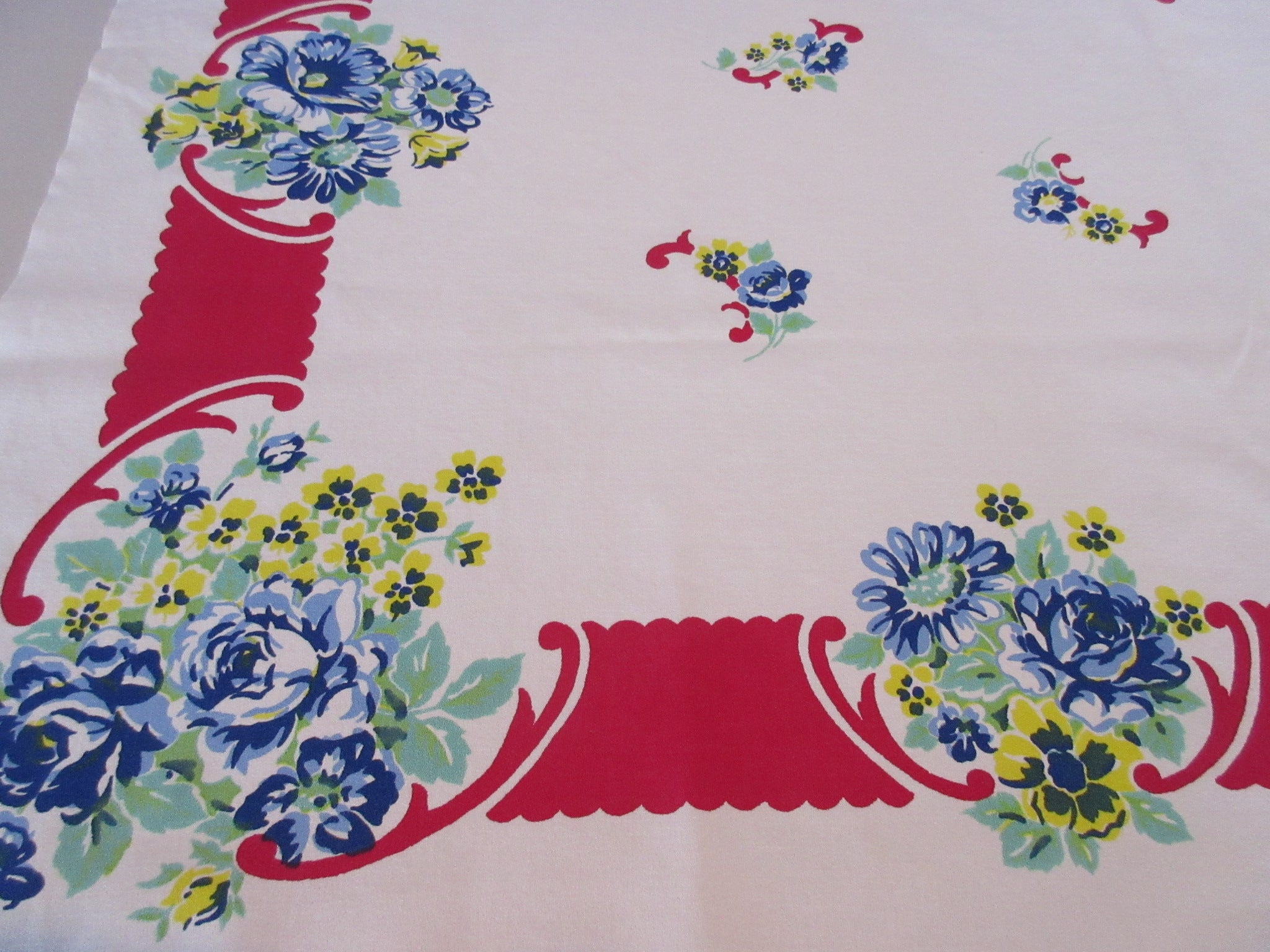 Blue Green Roses  on Red Floral Vintage Printed Tablecloth (48 X 46)