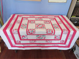 Pastel Flowers on Deep Pink Stripes Floral Vintage Printed Tablecloth (50 X 46)