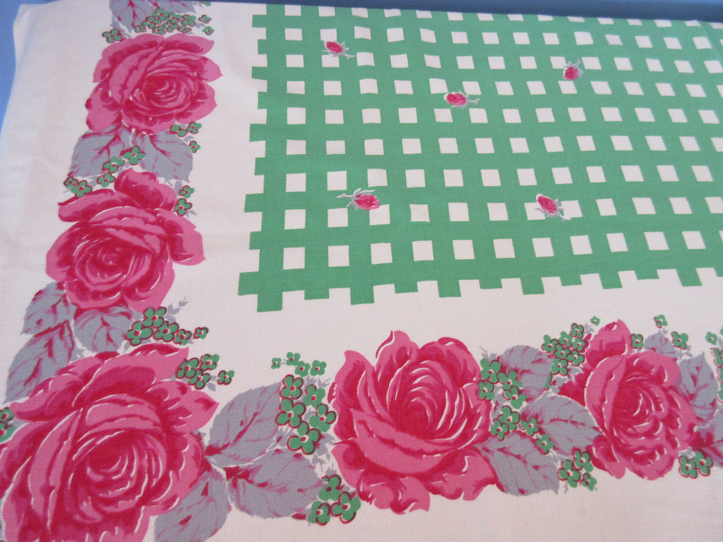 Pink Roses on Green Plaid Cutter? Floral Vintage Printed Tablecloth (64 X 50)