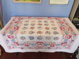 Blue Flowers on Bubblegum Pink Cutter? Floral Vintage Printed Tablecloth (51 X 47)