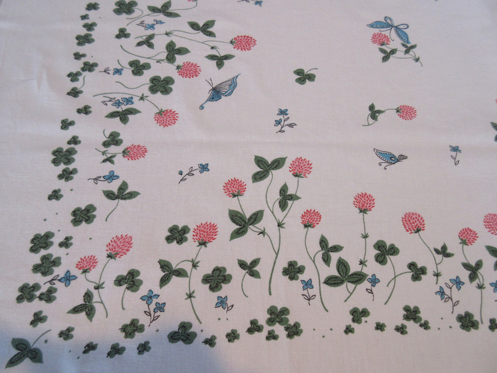 Pastel Pink Blue Black Clover Butterflies Cutter? Floral Vintage Printed Tablecloth (54 X 46)