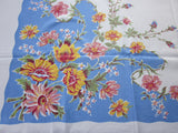 Pastel Pink Yellow on Blue Floral Vintage Printed Tablecloth (52 X 44)