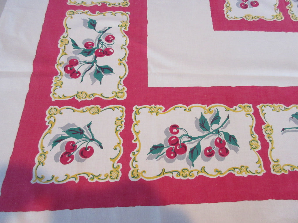 Red Green Cherries in Frames Startex Fruit Vintage Printed Tablecloth (50 X 46)