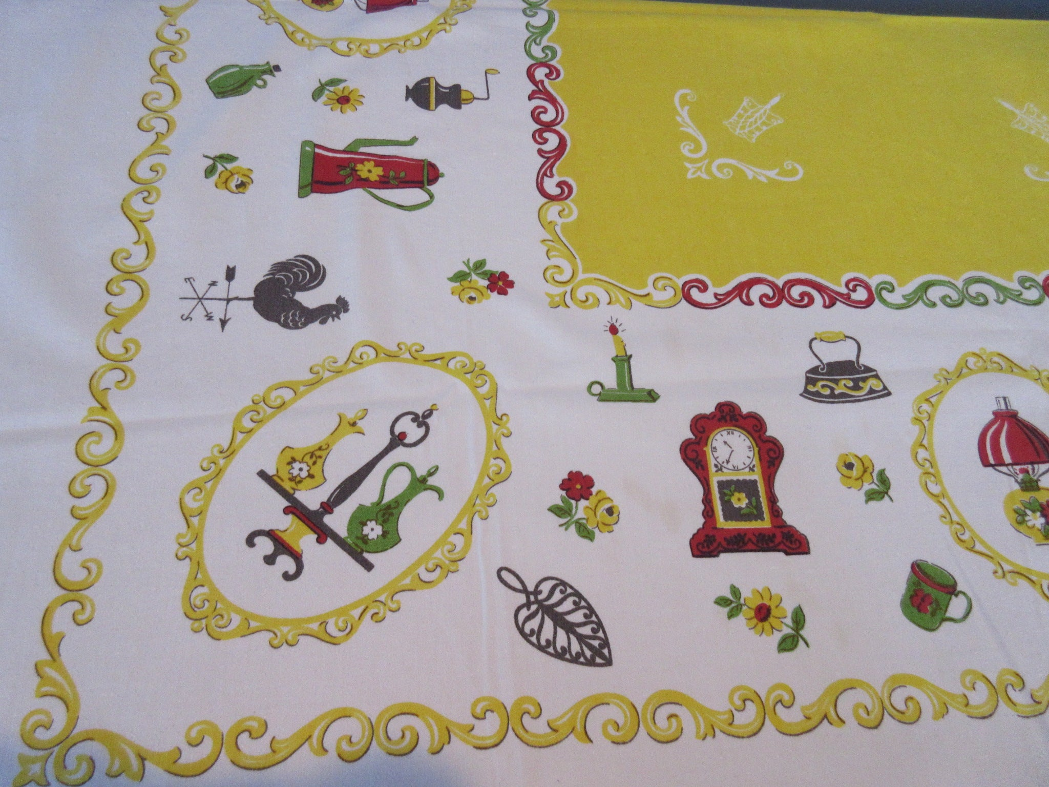 Colonial Primary Household Items on Yellow Novelty Vintage Printed Tablecloth (53 X 50)