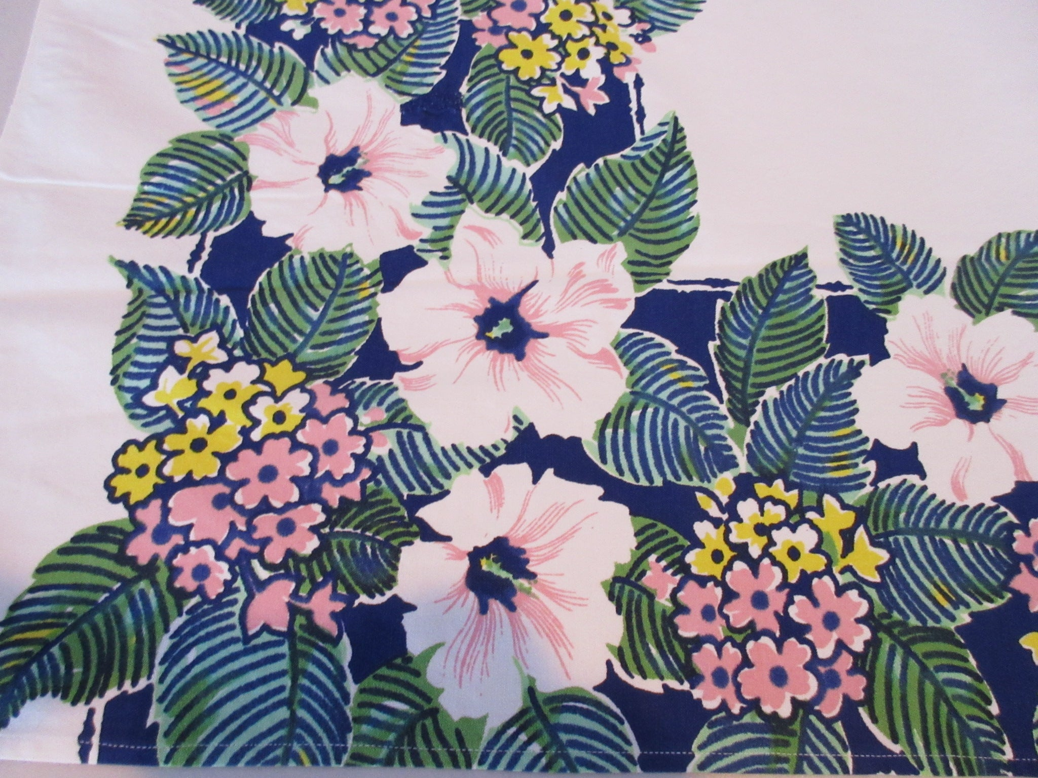Trimmed Pink Hibiscus on Blue Cutter? Floral Vintage Printed Tablecloth (48 X 42)
