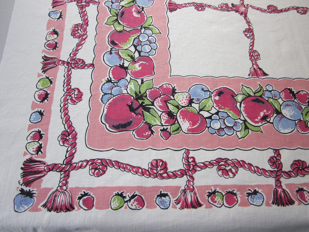 Stunning Fruit Ropes on Pink Vintage Printed Tablecloth (50 X 49)