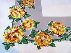 Shabby Yellow Chrysanthemums on Gray Floral Vintage Printed Tablecloth (52 X 46)