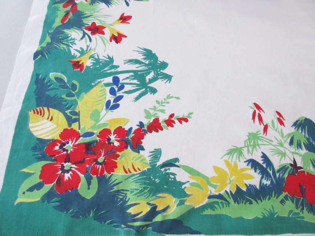 HTF Wilendur Tropical Forest Palm Trees Cactus Floral Vintage Printed Tablecloth (53 X 48)