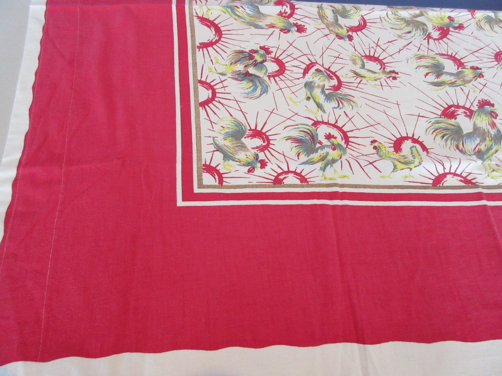 Trimmed Roosters on Red Curtain? Novelty Vintage Printed Tablecloth (46 X 44)