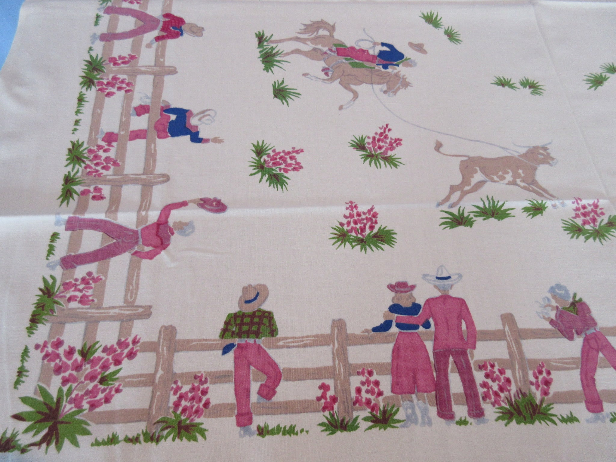 Shabby Cowboys Cowgirls Horses Fence Novelty Vintage Printed Tablecloth (50 X 45)