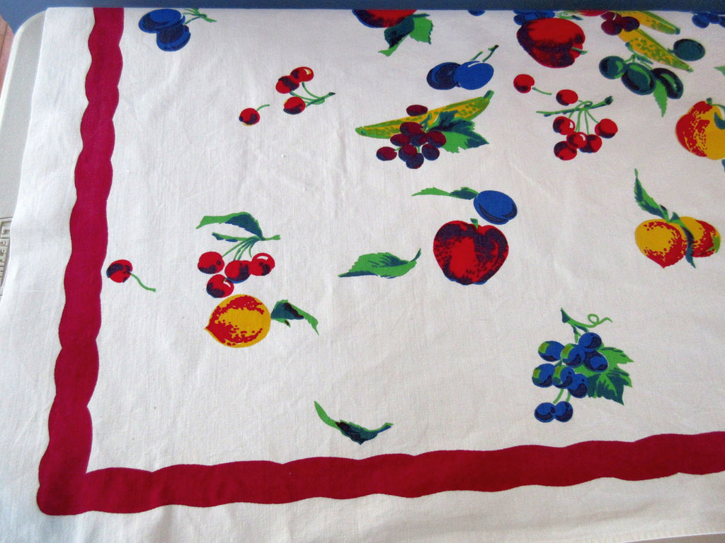 HTF Wilendur Fruit Explosion on Magenta Vintage Printed Tablecloth (51 X 46)