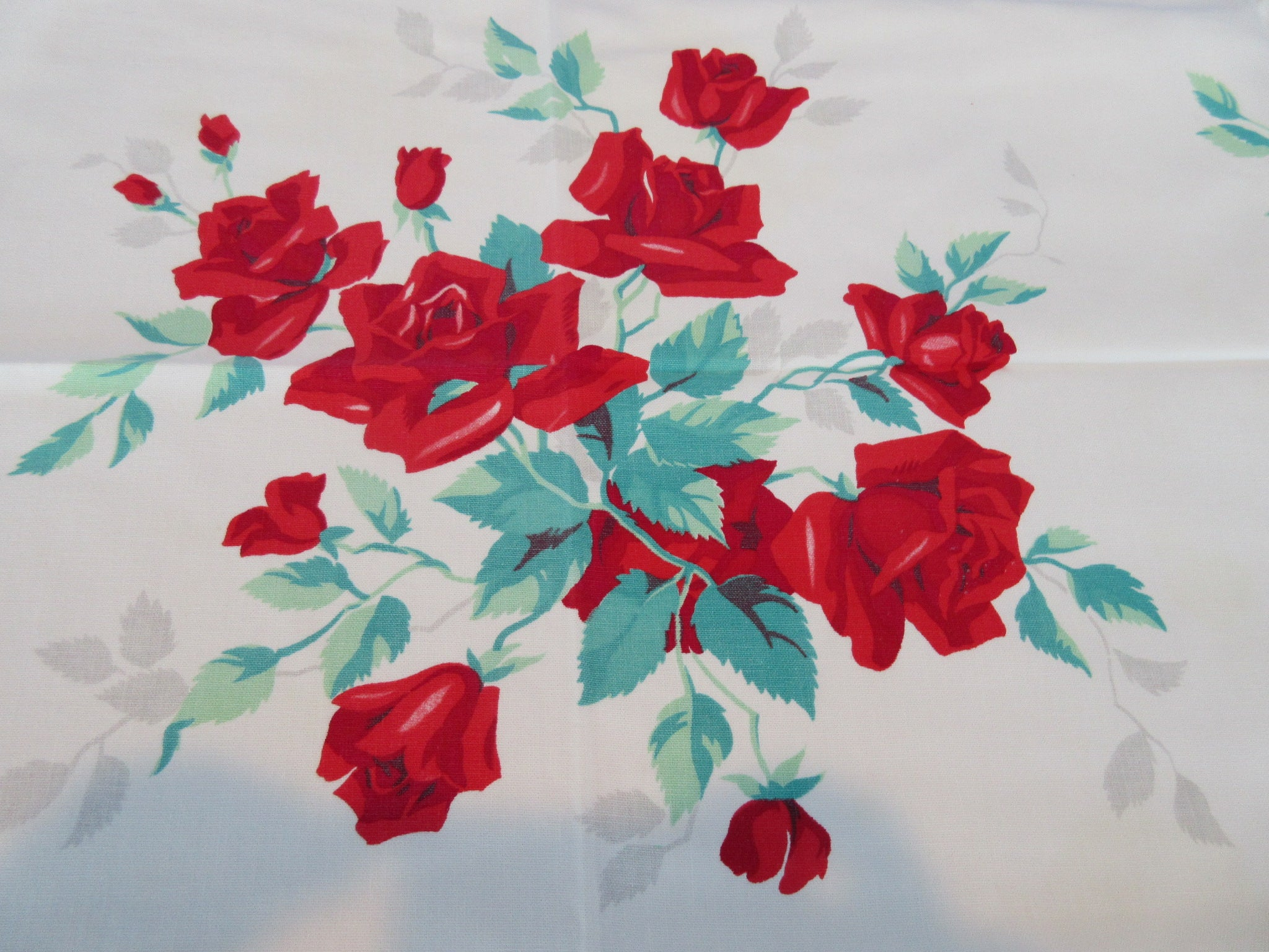 Wilendur Red Royal Rose Floral Vintage Printed Tablecloth (53 X 48)