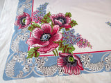 Giant Pink Poppies Lilacs on Blue Floral Vintage Printed Tablecloth (68 X 51)