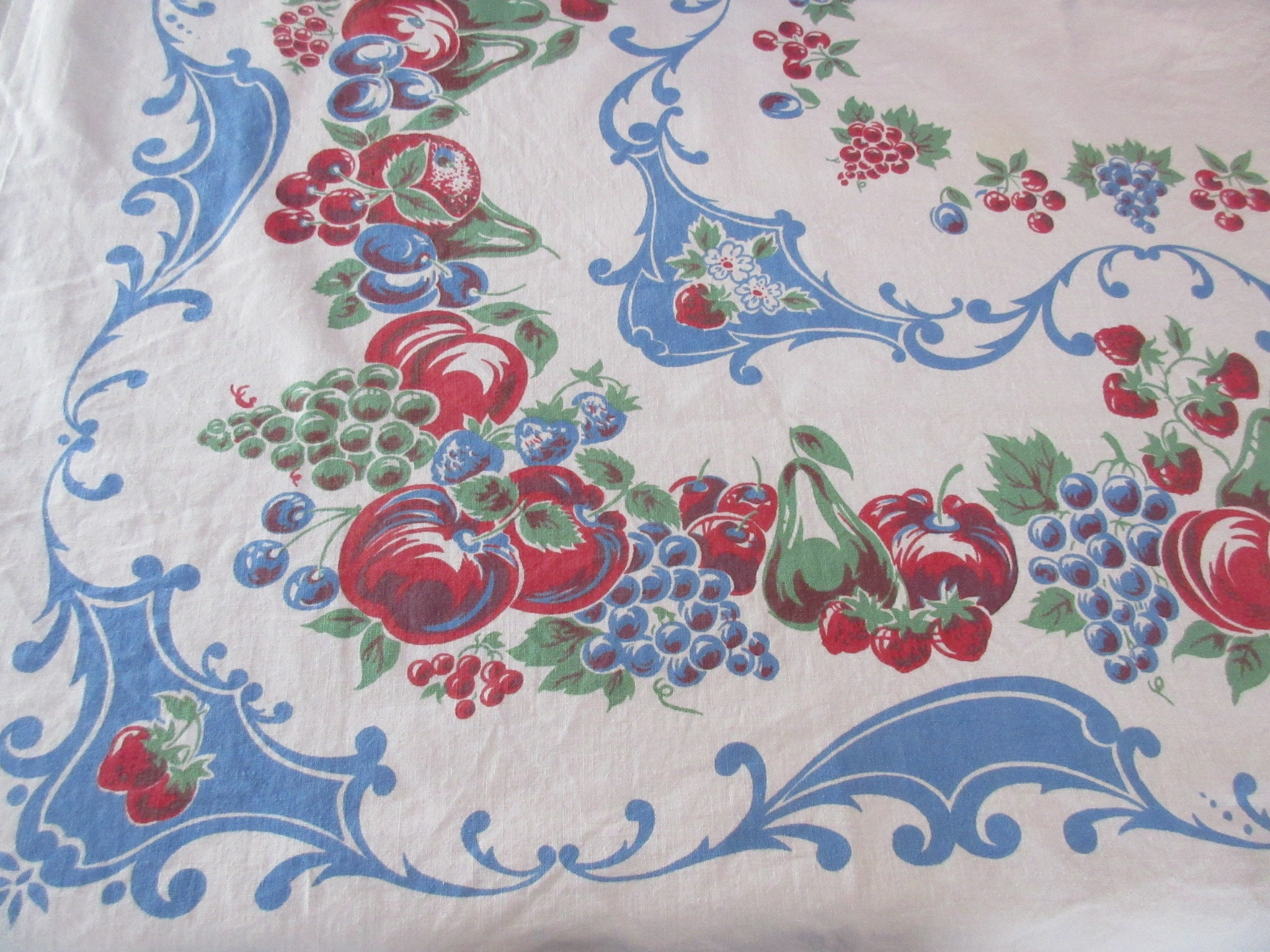 Shabby Primary Fruit on Blue Cutter? Vintage Printed Tablecloth (50 X 47)
