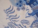 Blue Willow Chinoiserie Cutter? Temples Novelty Vintage Printed Tablecloth (50 X 50)