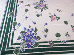 Simtex Violets and Roses on Green Cutter? Floral Vintage Printed Tablecloth (65 X 52)