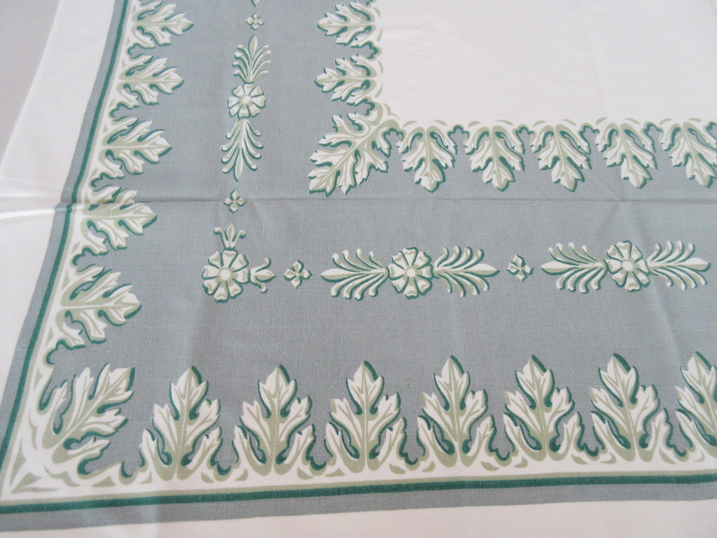 Shabby Green Acanthus on Gray Novelty Vintage Printed Tablecloth (56 X 53)